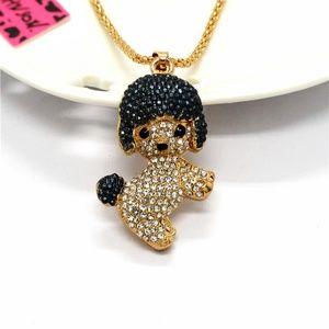 Baseball Cap Puppy Shiny Crystal Pendant Necklace